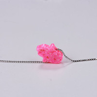 Lucky Pink Opal Hamsa Hand Silver Necklace