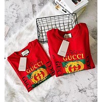 """Gucci"" Hot Graffiti Letter Logo Print Round Collar T-Shirt Pullover Top I"
