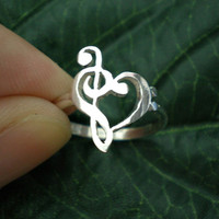 Music Love Heart Ring - Treble Clef Bass clef Ring