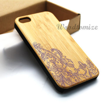 Wood print floral case, Real wood, iPhone 5C case, iPhone 5S 5 case, Bamboo, FREE screen protector [A03]