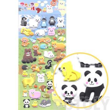 Cartoon Mixed Animal Monkey Alpaca Panda Porcupine Puffy Stickers for Scrapbooking from Japan