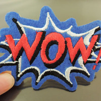 WOW Letter Patches - Iron on or Sewing on Patch Letter Patches Red Blue Patch Embellishments Embroidery fonts