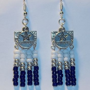 Dallas Cowboys Themed Glass Beaded Artisan Crafted Chandelier Earrings