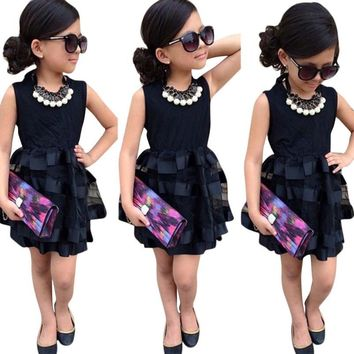 Sotida Girls Dresses Black 2017 Formal Princess Dress Baby Kids Girls Clothing Wedding Party Mesh Dresses Children Clothing