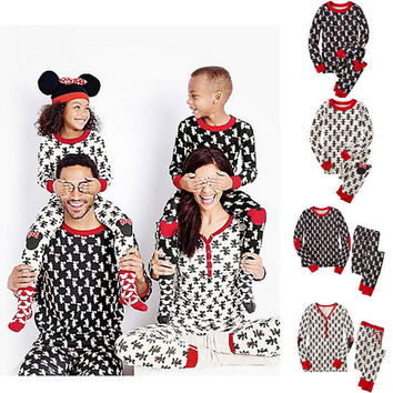 2016 Christmas Girl Boys Kids Adult Family Pajamas Set Sleepwear Nightwear Xmas Costume