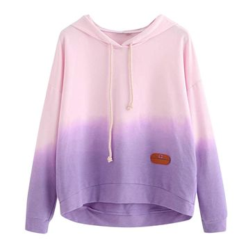 FeiTong Pink Sweatshirt Drawstring Drop Shoulder Tie Dye Hoodie Spring Autumn Long Sleeve Casual Pullovers Multicolor Sweatshirt