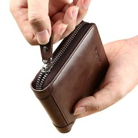 Leather Wallet with Zipper for Men