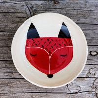 Ceramic serving bowl - white serving bowl - fox illustration - fox illustrated bowl - Baby shower gift - Valentine's gift  MADE TO ORDER