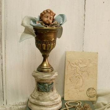 Vintage cherub Trophy cup verdigris vase jewelry holder aged altered award brass cup Shabby french chic home decor