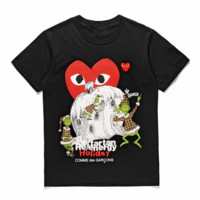 Play New fashion love heart print couple top t-shirt Black