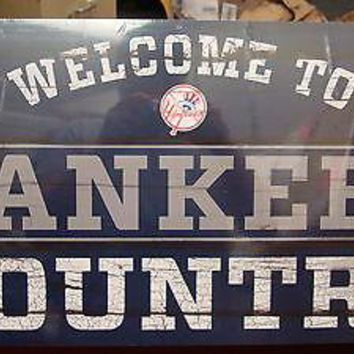 """NEW YORK YANKEES WELCOME TO YANKEES COUNTRY WOOD SIGN 13""""X24'' NEW WINCRAFT"""