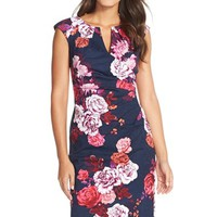 Women's Adrianna Papell Ruched Floral Jacquard Sheath Dress,