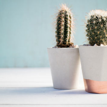Concrete and Copper Mini Succulent and Cactus Pots |  Concrete Alphabet | Handmade | Gift | Plant | Indoor | Outdoor | Minimalist  | Brutali