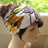 Hair Turban Head Wrap Wide Hair Tube Women's Yoga Wrap, Turband, in Black, Olive Green and Mustard Yellow Big Floral Print Stretch Fabric