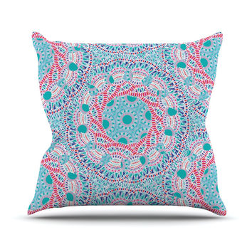 "Miranda Mol ""Prismatic White"" Blue Pink Abstract Outdoor Throw Pillow"