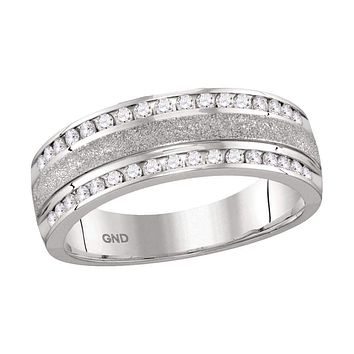 14k White Gold Men's Round Diamond Grecco Wedding Anniversary Band 1/2 Cttw - FREE Shipping (US/CAN)