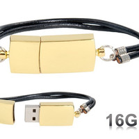 Fashionable Bracelet Design 16GB USB Flash Drive (Gold)