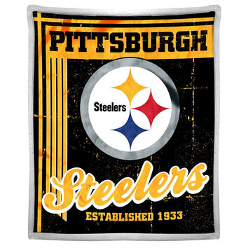 Pittsburgh Steelers NFL Mink Sherpa Throw (50in x 60in)