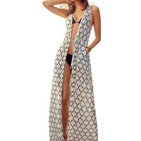Printed Tie-Waist Longline Beach Cover-Up