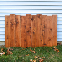 Staggered Reclaimed Wood Shabby Chic Headboard / Wall Art - Antique Walnut