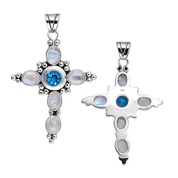 SP-2154-CO1 Sterling Silver Pendant With Rainbow Moonstone, Blue Topaz