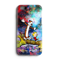 "Apple Iphone 6 4.7"" Case - The Best 3d Full Wrap Iphone Case - Calvin And Hobbes Running In Galaxy Nebula"