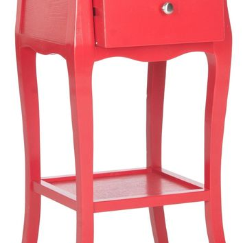 Thelma End Table With Storage Drawer Hot Red