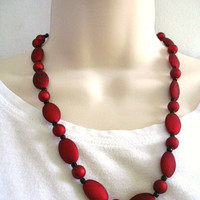 Ruby Red Fire Black Matte Beaded Necklace, Earring Set
