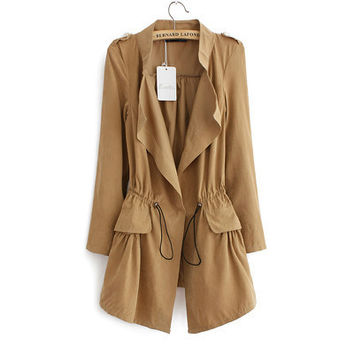 Drawstring-Waist Lapel Pocket Coat