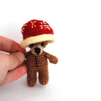 teddy bear, tiny bear having a big red hat, bear doll, amigurumi bear, little bear, funny gift, artist bear, stuffed toy, amigurumi doll