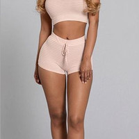 Striped Hooded Crop Top and ShorT Two Piece