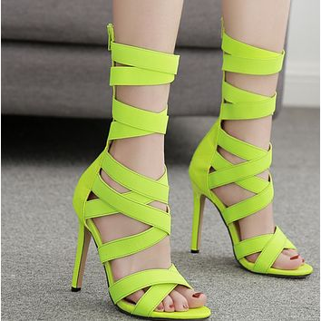 Hot style zip stretch cloth long boot with open toe, thin heel and high heel shoes