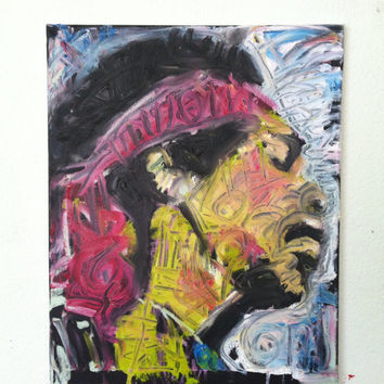 Jimi Hendrix Oil on Canvas 16x20 Andre 3000 Boho Chic Decor Hippie Art Music Art Canvas Painting Canvas Art Rock Art