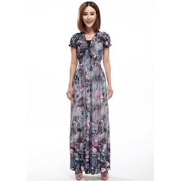 Women Summer Dress Butterfly Printed Bohemian Dresses 5XL 6XL Plus Size Dress Ruffles Long Maxi Dress