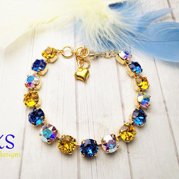Sun Kissed, Swarovski Bracelet, 8mm, Bridal, Gold Setting, Adjustable, A.B., Sapphire, Sunflower, DKSJewelrydesigns, FREE SHIPPING