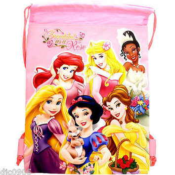 Disney Pink Princess Beautiful as a Rose Kid's Drawstring Backpack Tote Gym Bag