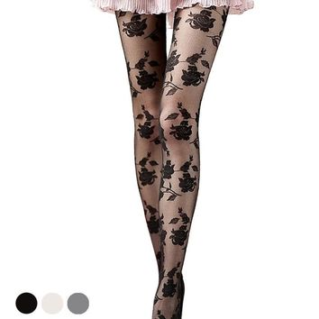2015 New 3colors Black Sexy Lace tattoo pantyhose Panty Hose collants tattoo Free Shipping
