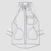TRANSPARENT WATER REPELLENT RAINCOAT DETAILS