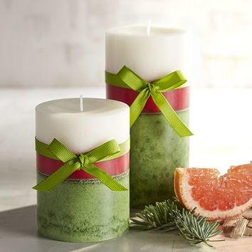 Evergreen & Poinsettia Layered Pillar Candles