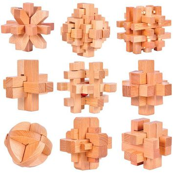 9PCS/Set Beech Wood IQ Burr Interlocking Puzzles Mind Brain Teaser Wooden Puzzles Game for Adults Children