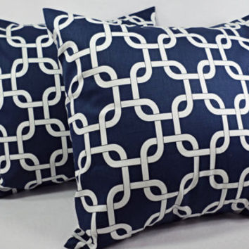 Two Blue Chainlink Decorative Throw Pillow Covers in Blue and White - 18 x 18 inches Cushion Cover Accent Pillow