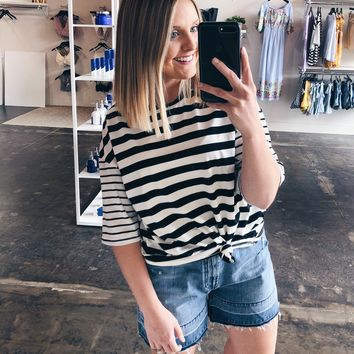 Eden Drop Shoulder Striped Top