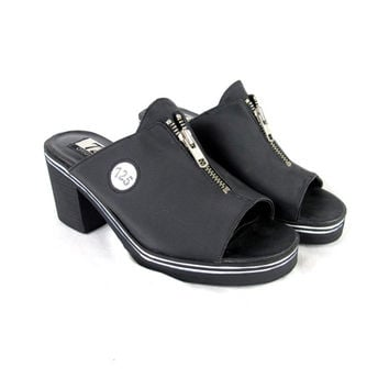 90s Club Kid Chunky Heels Slip On Plaftorm Slides Zipper Open Toe Mules Striped Sporty Sandals Backless Heels Grunge Goth Vegan Shoes (7)