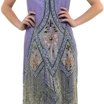 Dusty Purple Embroidered Reproduction 1920's Flapper Dress - S to 2XL - Unique Vintage - Prom dresses, retro dresses, retro swimsuits.