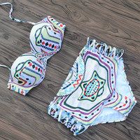 Print Floral Push Up Bikinis Set High Waist Bathing Suit Swimwear