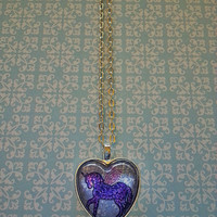 Unicorn with wings glass dome heart necklace for tween or teen girl