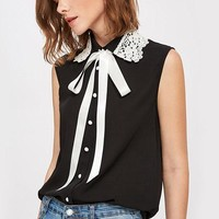 Black Lace Applique Collar Tie Neck Blouse Contrast Collar Sleeveless Blouse With Bow Button Ladies Work Wear Top