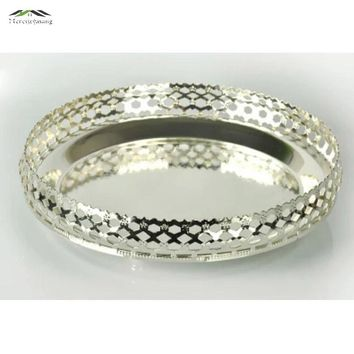 New elegant shiny silver finish tray round plate high grade Dishes & Plates for wedding or party putting fruits or dim sum
