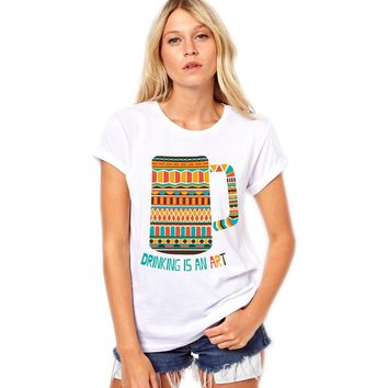 Drinking Is An Art - Artistic Pattern Beer Women's T-shirt