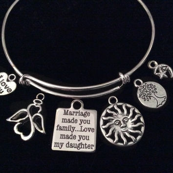 Daughter in Law Family Tree Angel Expandable Charm Bracelet Daughter In Law Adjustable Silver Wire Bangle Gift